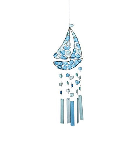 Peaceful Sea Glass Wind Chime (Sailboat) - Mellow Monkey