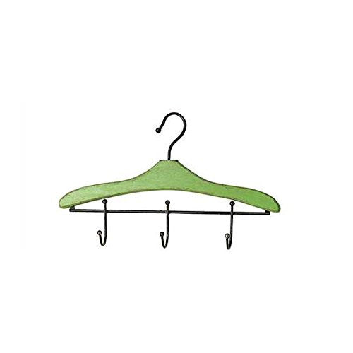 Clothes Hanger Shaped Wood Wall Coat Hook with 3 Hooks - 18-in (Green) - Mellow Monkey