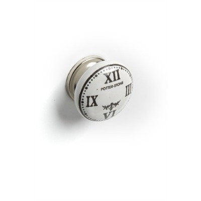 Roman Numeral Clock Ceramic Drawer Dresser Cupboard Pull Knob - White with Black - Mellow Monkey