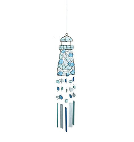 Peaceful Sea Glass Wind Chime (Lighthouse) - Mellow Monkey