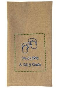 """Sandy Toes & Salty Kisses"" - Hand Embroidered Cotton Kitchen Towel - Mellow Monkey"