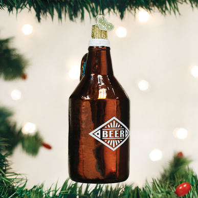 Old World Christmas Handcrafted Blown Glass Ornament - Beer Growler