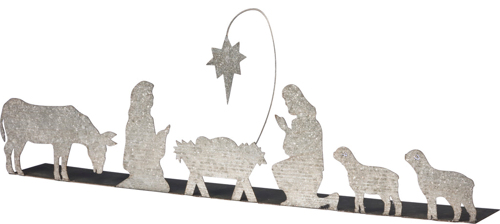 Metal Freestanding Nativity Decor with Votive Holders and Candles - 24-in