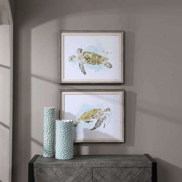 Sea Turtle Study Framed Print - 25-in