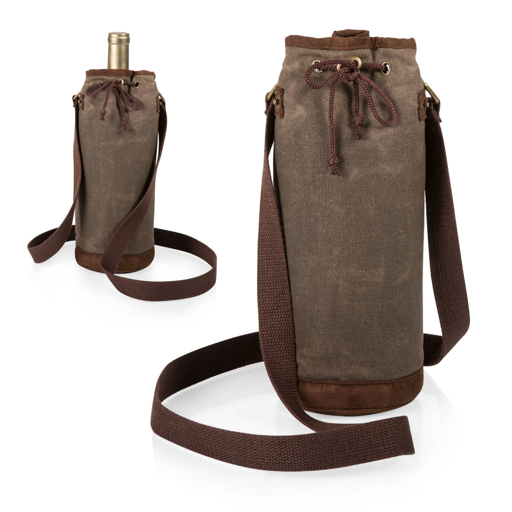 Insulated Waxed Canvas Wine Travel Tote