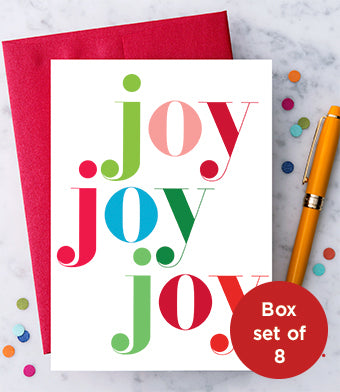 Joy Joy Joy Boxed Set - Holiday Greeting Cards - Boxed Set of 8