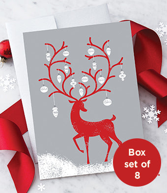 Reindeer With Ornaments Holiday Greeting Cards - Boxed Set of 8