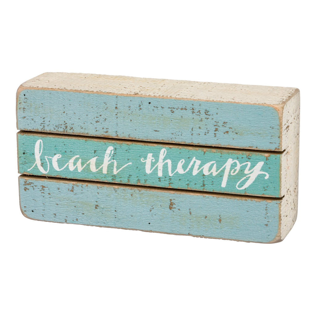 Beach Therapy Weathered Coastal Cottage Mini Box Sign 6-in