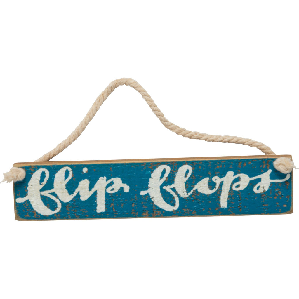 Flip Flips Mini Wood Sign with Rope Hanger 5-in