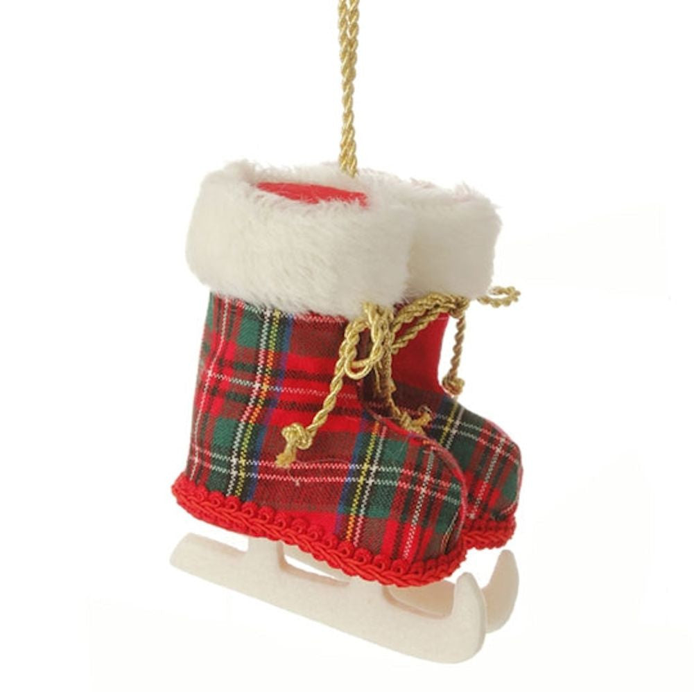 Town Square Red Plaid Ice Skate Ornament with Faux Fur Cuffs and Gold Fabric Laces 5-in - Mellow Monkey