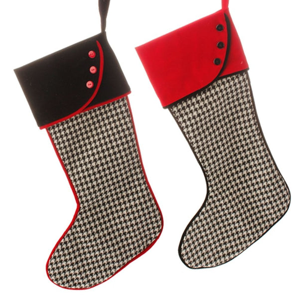 Town Square Black and White Houndstooth Christmas Stocking Set of 2 (Fillable or Ornaments) - Mellow Monkey  - 1