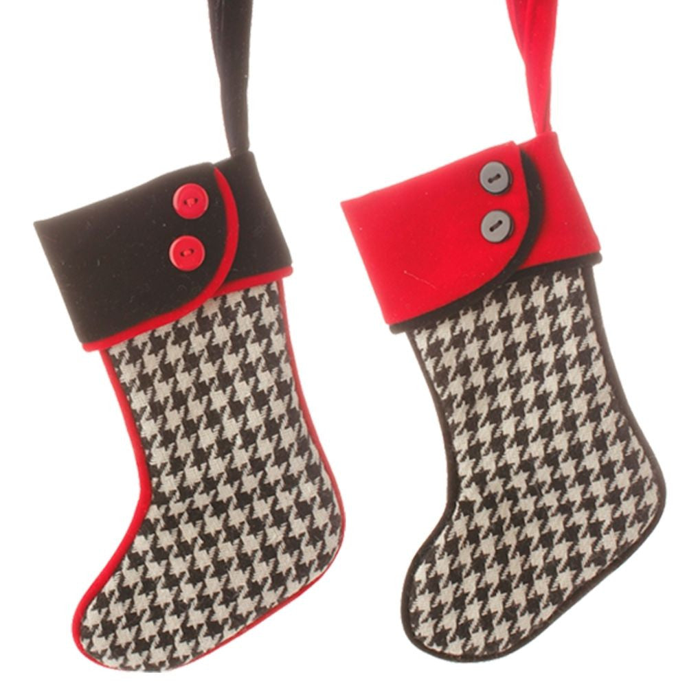 Town Square Black and White Houndstooth Christmas Stocking Set of 2 (Fillable or Ornaments) - Mellow Monkey  - 2