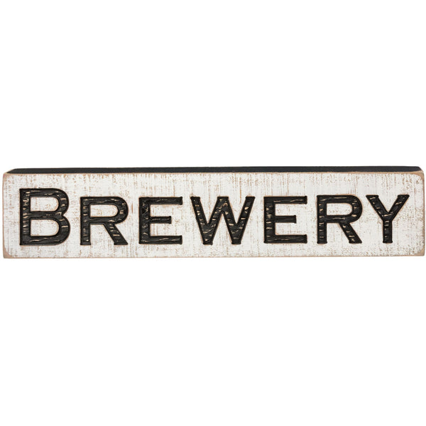 Vintage Carved Brewery Sign with Rough Painted Finish - 26-in