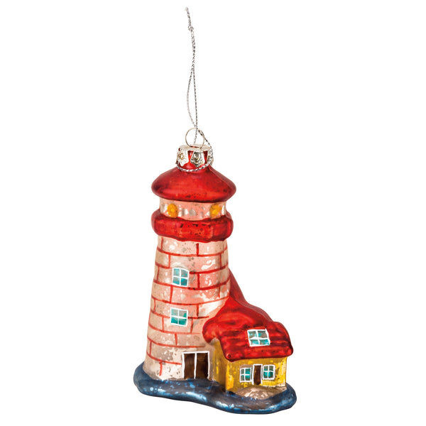 Vintage Retro Glass Lighthouse Ornament - 5-in