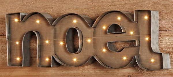 NOEL - Illuminated Wood and Metal Marquee Word Sign 25-in Christmas - Mellow Monkey  - 3