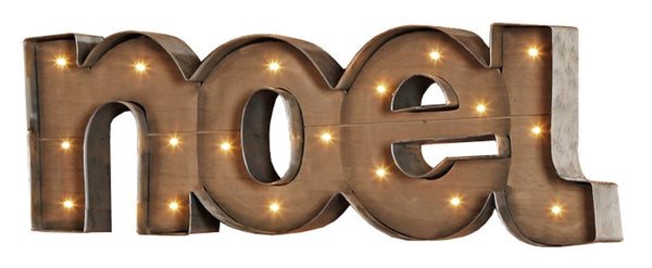 NOEL - Illuminated Wood and Metal Marquee Word Sign 25-in Christmas - Mellow Monkey  - 1