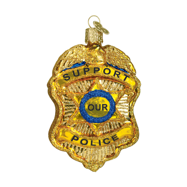 Old World Christmas Handcrafted Blown Glass Ornament - Police Badge
