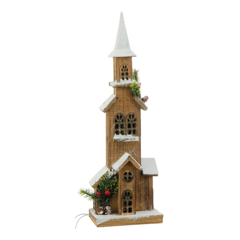 Lighted Wooden Church - 20-in - Mellow Monkey  - 1