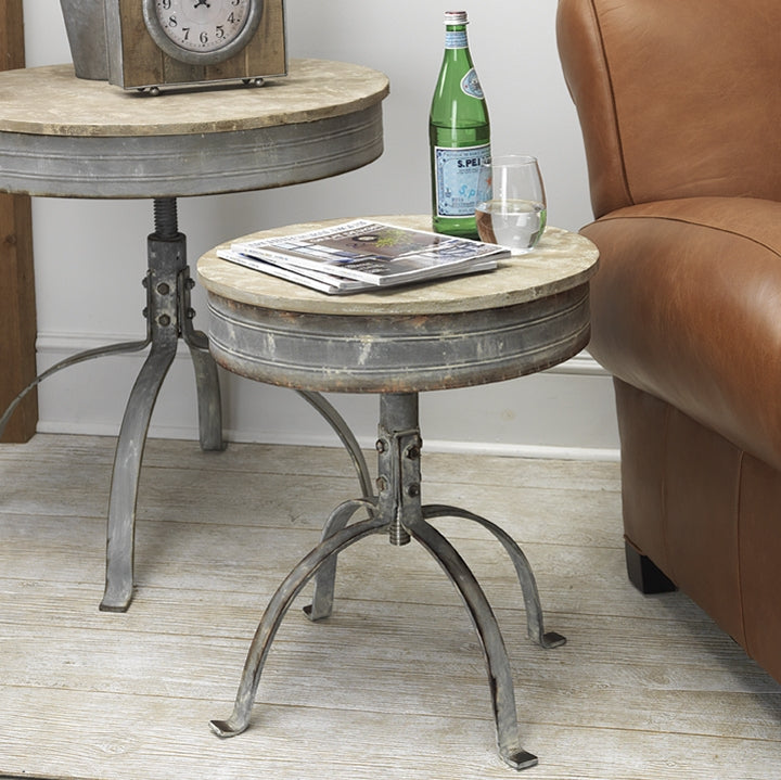 Vintage Distressed Round Adjustable Height Table | Metal and Fir Wood 24-in