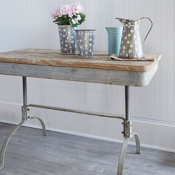 Vintage Distressed Table | Metal and Fir Wood 47 x 23-1/2-in
