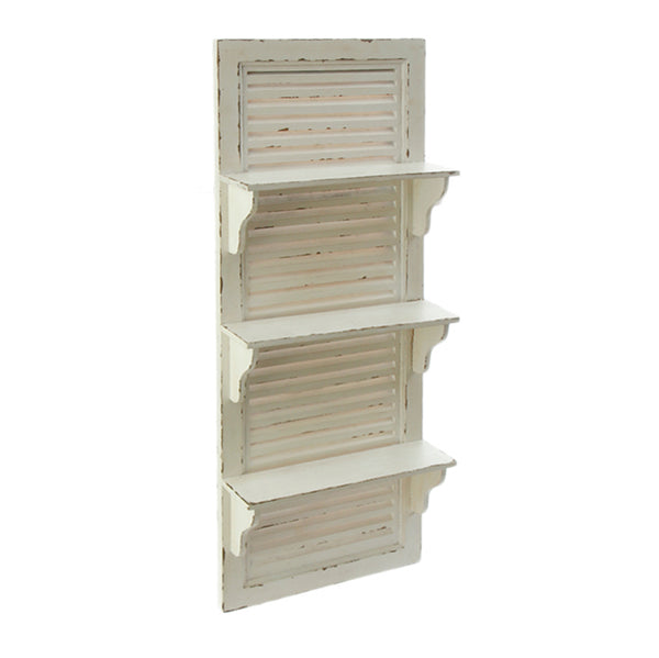Antique White Distressed Wood Shutter Shelf - 39-in