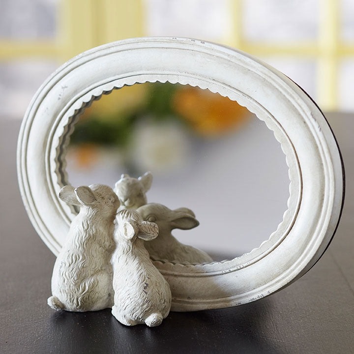 Rabbit Pair Freestanding Mirror | 8-1/2-in