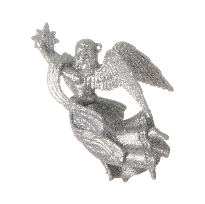 Glitter Angel Ornament Silver 4-in