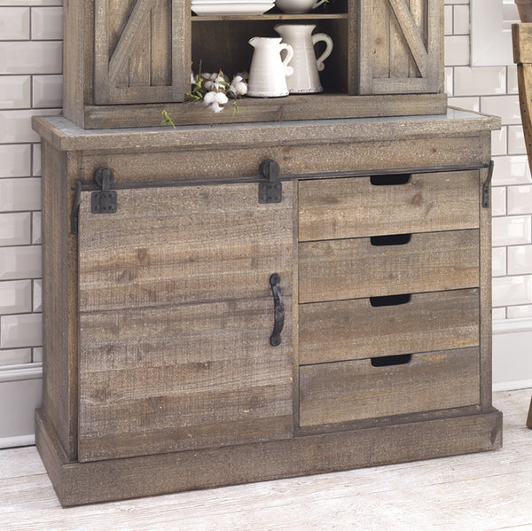 Vintage Distressed Refined Farmhouse Side Board with Sliding Doors | Metal and Fir Wood 47 x 23-1/2-in