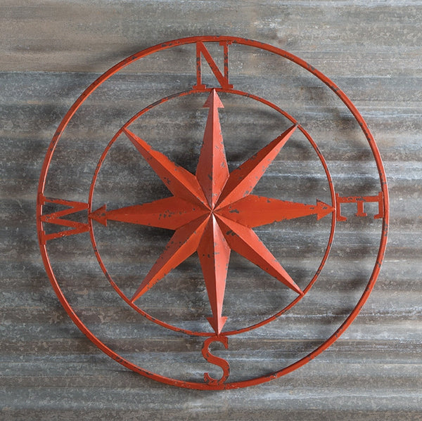 Metal Wall Art Rose Compass Star in Distressed Red - 30-in
