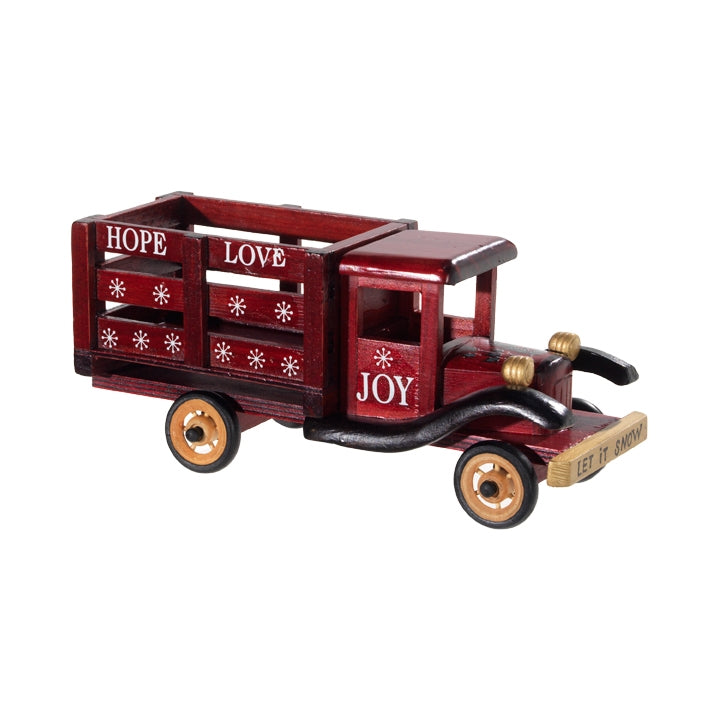 Vintage Style Wooden Decorative Holiday Christmas Truck - 14-1/2-in