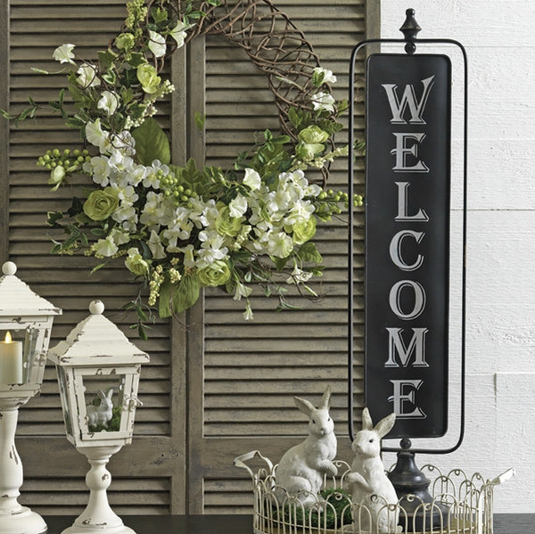 Freestanding Metal Two Sided Swivel Welcome / Closed Sign 35-in