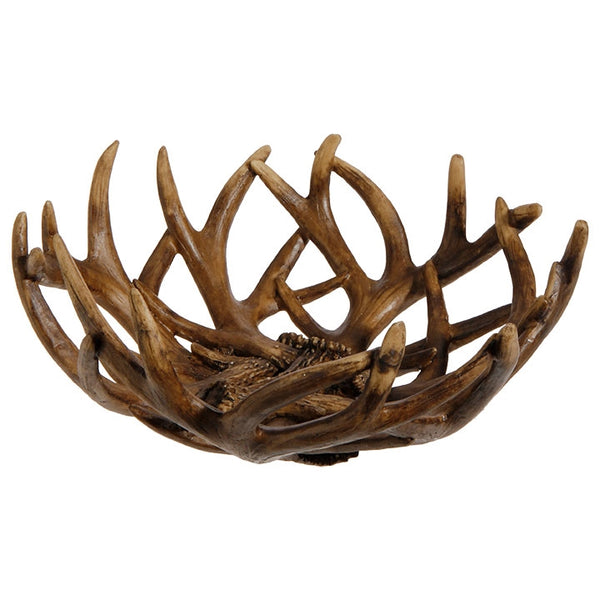 Decorative Lodge Style Antler Bowl 12-in