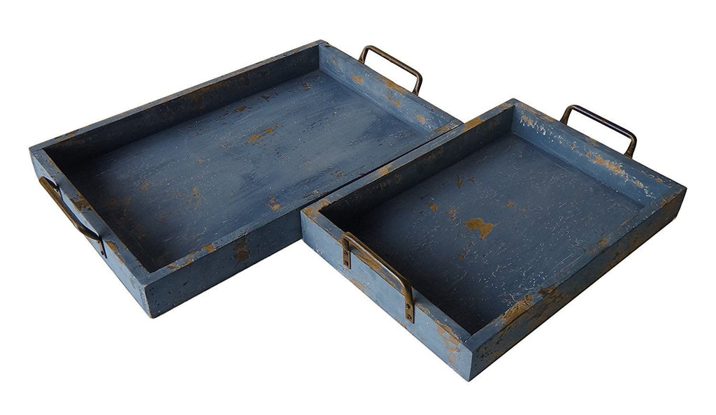 Vintage Blue Beach Wood Trays with Iron Handles - Set of 2