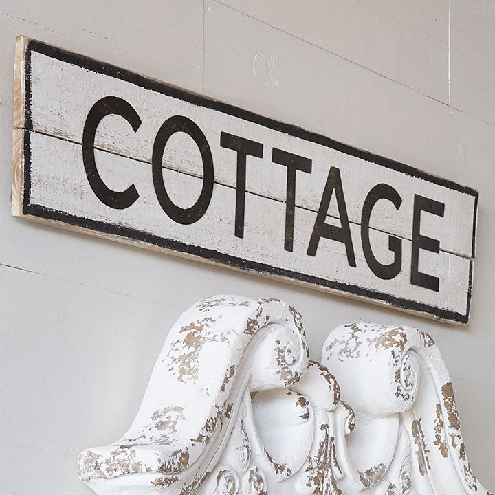 Cottage | Distressed Wood and Metal Sign - 39-1/2-in