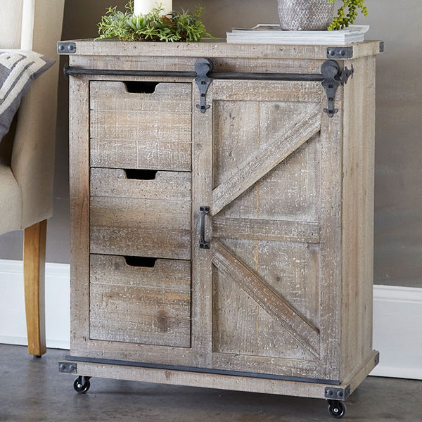 Vintage Rolling Cabinet | Barn Pulley Doors and 3 Drawers 33-in H
