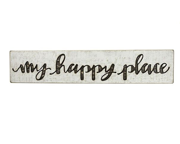 My Happy Place | Vintage Carved Sign Brown Letters - 26-in