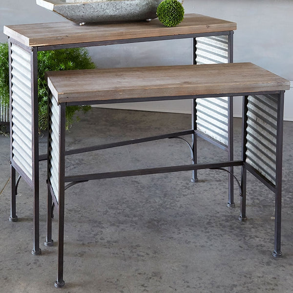 Vintage Farmer's Market Distressed Table | Metal and Fir Wood