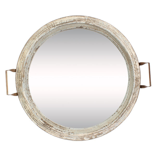Distressed Mirror Tray - 23-in