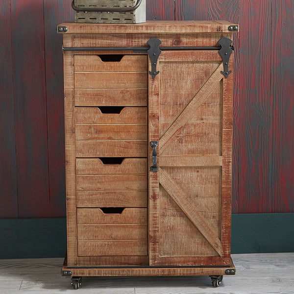 Vintage Rolling Cabinet | Barn Pulley Doors and Drawers 41-in H