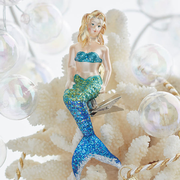 Blue Mermaid Glass Clip On Ornament - 5-1/2-in