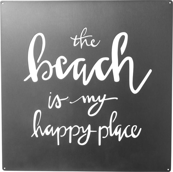 The Beach Is My Happy Place | Metal Wall Art | 12-in