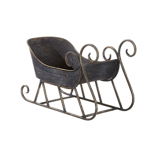 "13"" Iron Rustic Galvanized Metal Christmas Sleigh Tabletop Decoration"