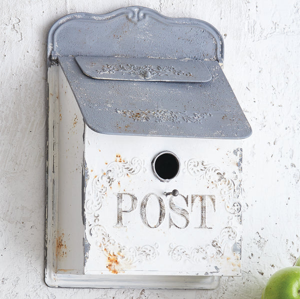 Vintage Post Mailbox Birdhouse - White and Gray - 15-in