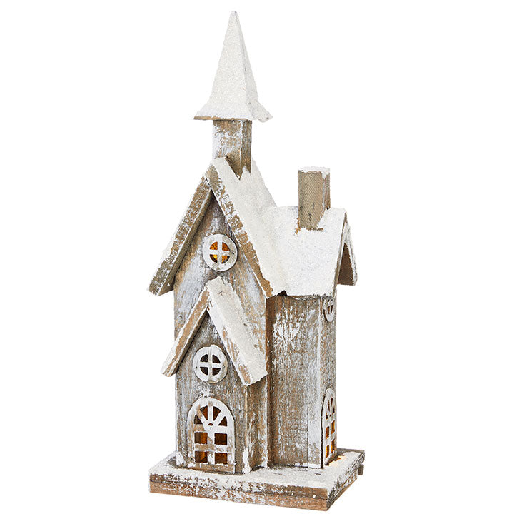 Vintage Lighted Wooden Country House - 15-in