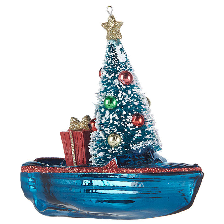 Christmas Boat with Tree and Gifts - Ornament - 4-3/4-in