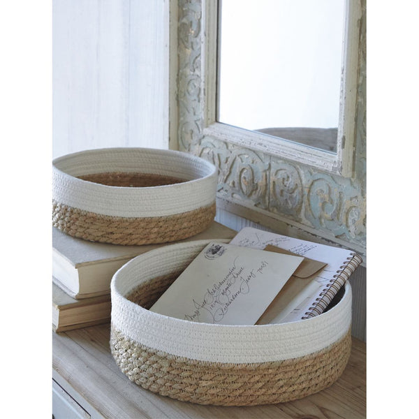 Grass and Rope Round Trays - Set of 2 - 12-in
