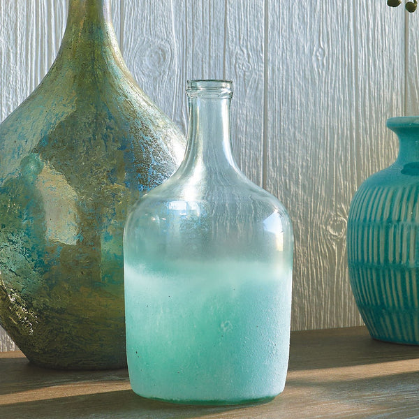 Seaside Cottage Glass Bottle Vase - 10 in