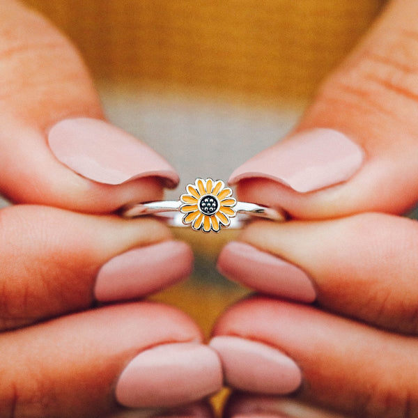 Puravida Enamel Sunflower Ring
