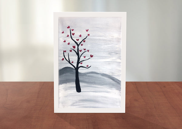 Hilltop Heart Tree Greeting Card