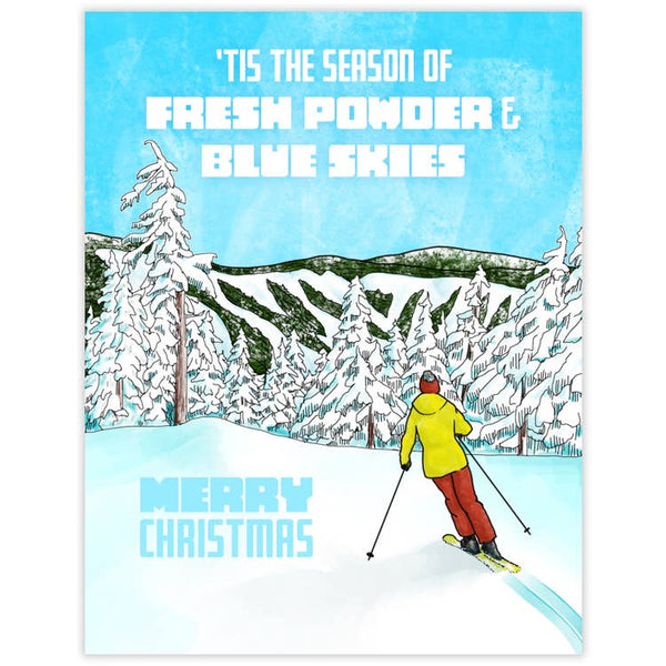 'Tis The Season of Fresh Powder and Blue Skies. Merry Christmas - Holiday Greeting Card with Red Face Mask